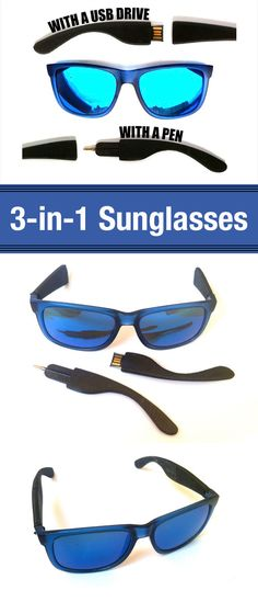 Design new arms for your current sunglasses, to add a USB drive and a pen. #3Dprinting