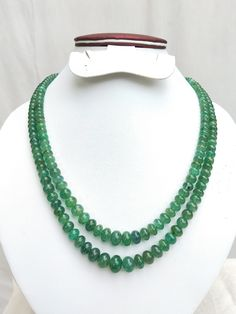 2 Strand Natural Precious Emerald Necklace : Smooth Rondelle Emerald Beads ,  Genuine Zambia Emerald , 4 to 11 mm Beads , Gift for Her. by GudhaGems on Etsy Emerald Necklace, Tassel Necklace, Turquoise Necklace, Indian Jewelry, Unique Jewelry, Necklace Lengths, Gold Rings, Gifts For Her, Jewelry Making