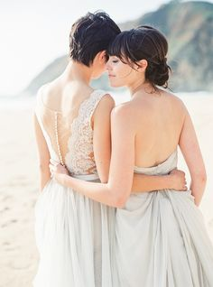 Two Brides at Half Moon Bay | Same sex wedding inspiration | Michele Beckwith Photography