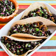Perfectly-seasoned ground turkey taco meat, black bean cilantro salsa, and softened tortillas combine to make delicious  healthy tacos the whole family will enjoy.  [#SouthBeachDiet friendly from Kalyn's Kitchen]