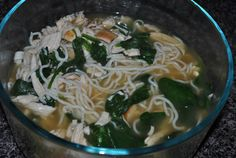 6 oz of cooked grilled chicken breast 8 oz package of Tofu Shirataki Noodles 1/2 cup cooked spinach 2 cups 99% Fat Free Chicken Broth T...