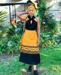 Traditional Xhosa wrap around skirt Latest African Fashion Dresses, African Dresses For Women, African Print Dresses, African Print Fashion, Africa Fashion, African Women, Ankara Fashion, African Prints, African Fabric