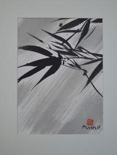 Im Wandel der Jahreszeiten hier Sumi-e Malereien: Blumen, Bäume, Früchte auf Japanpapier oder auf selbstgeschöpftem Papier, z.T. gerastert, aufgeklebt als Collage.