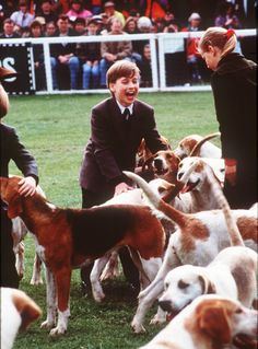 Pin for Later: See Prince William and Kate Middleton as Kids!  Prince William played with the hound dogs at the Badminton Horse Trials in England in May 1991.