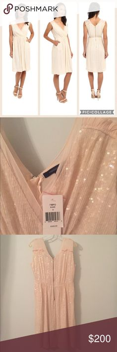 French Connection Riviera Mist Sequin Dress Gorgeous sand colored sequin dress by French Connection. Romance the night away in this beautiful sleeveless dress with tonal sequins throughout. Semi sheer shoulder straps and v-neckline. Back zip closure, front pockets, straight hem, fully lined. Dress 100% viscose, lining 100% poly. Dry clean only. 41 inches long. Slight dirt marks from hem touching floor in store and small snag on upper left shoulder from hanger (see last picture please!)Sold…