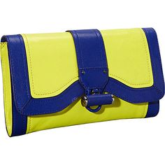 Milly Kiera Leather Multi Clutch Citrus Multi - Milly Designer Handbags