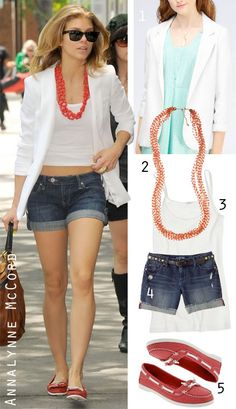 Like the White Blazer and the casual denim shorts.
