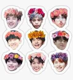 """""""Stray Kids Clé Miroh Sticker Set"""" Sticker by RvyQwert Pop Stickers, Face Stickers, Kids Stickers, Printable Stickers, Kpop Diy, Percy Jackson Fan Art, Supernatural Fan Art, Felix Stray Kids, Aesthetic Stickers"""