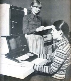 Videoton computers at hard work, c1975.