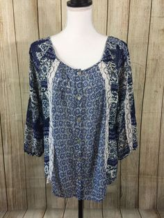 FIGUEROA & FLOWER Woman's Sz M Tunic Blouse Semi Sheer Peasant Blue White #FIGUEROAFLOWER #Blouse #Career