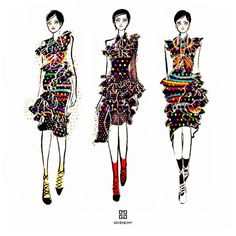 "164 Likes, 4 Comments - Heidi ハイディ (@heidic_illustration) on Instagram: ""Drawing my favorite outfits from #Givenchy #SS17 The rainbow dots and stripes patterns overlap each…"""