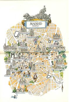 Madrid City Map, Old Map Illustration, 1950s Jacques Liozu Art, Vintage Map Print, Colorful Map Decor, World Travel Decor, Madrid Spain by HildaLea on Etsy
