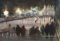 Venice Nocturne II, watercolor by Keiko Tanabe