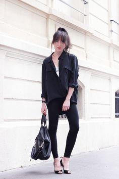 Anine-Bing-Silk-Shirt-Wolford-Leggings-Givenchy-Bag-Louboutin-Heels