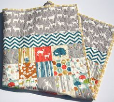 Organic Quilt Deer Elk Animals Birch Fabrics Nursery Crib Bedding All Natural by SunnysideDesigns2, $159.00