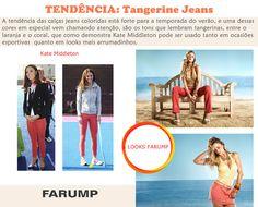 O tangerine jeans é tendência, sendo um grande hit entre as calças coloridas que estão com tudo para o verão. Fique por dentro dessa novidade, veja como Kate Middleton apostou no tangerine jeans em diferentes ocasiões. Veja também os looks da Farump que seguem essa trend.