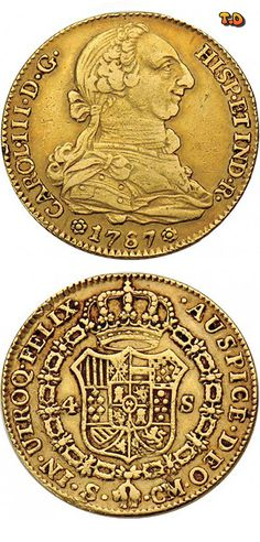 N♡T. 4 Escudos Obverse Image minted in Spain in 1787CM (1759-88 - CARLOS III) Spanish coin