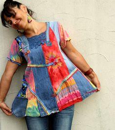 M-L-Pastell Regenbogen recyceltem Denim Kleid Tunika von jamfashion