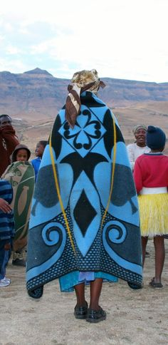 Made of mostly of wool and cotton, these blankets convey status and are often useful in the cold mountains of Lesotho. this is the national costume of Lesotho. I have 4 of these blankets and they are treasured. African Textiles, African Fabric, Africa Fashion, Ethnic Fashion, Le Grand Bleu, We Are The World, African Culture, African Design, Afro