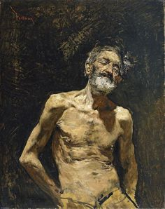 Mariano Fortuny y Marsal (1838 - 1874). Viejo desnudo al sol [Nude Old Man in the Sun], 1862-1863. Oil on Canvas, 76 x 60 cm (30 x 23.6  in)