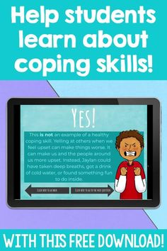 Use this FREE coping skills game for distance learning or in person counseling lessons. It is a fun game to help students identify how they can use positive coping strategies. The kids will look at 12 scenarios and determine whether or not they are examples of positive coping skills. This is a great activity to review coping skills in a small group or classroom format in your school counseling or SEL lessons. Coping Skills Activities, Emotions Activities, Counseling Activities, School Counseling, Feelings And Emotions, Anger Management, Student Learning, Social Skills, Life Skills