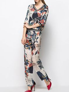 Floral Printed Silk  Two Piece Jumpsuits