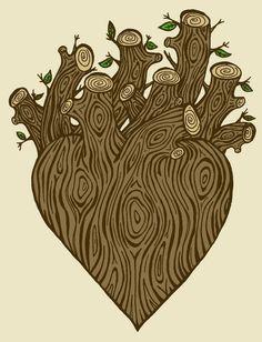 Woodgrain Faux Bois Anatomical Heart 8x10 Digital Art Print - Wood You Keep My Heart