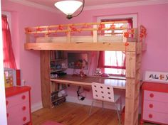 Need to decorate a room for you little girl, but don't have a lot of space? Try a loft bed. It's adorable and functional for a small room.
