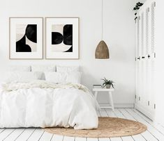 Gallery Wall set, Set of 2 Wall art prints - Diyjoy Black And White Wall Art, Black And White Abstract, White Walls, Black White, Art Stand, Scandinavian Art, Minimalist Scandinavian, Minimalist Decor, Decorating On A Budget