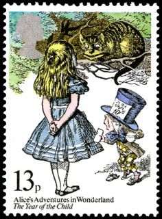 The 13p stamp from July 1979 was issued to mark the International Year of the Child. It features Alice, the Mad Hatter and the Cheshire Cat in one of John Tenniel's memorable illustrations from Alice's Adventures in Wonderland.