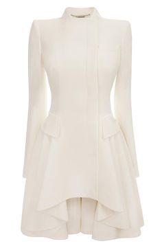 White Crepe Circle-Drape Dress-Coat. Alexander McQueen SS13