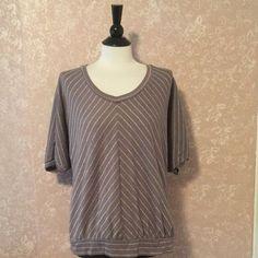 Sonoma Tunic Top Short Sleeve Grey Gray Metallic Stripe Womens Medium M #SonomaLifestyle #Tunic #Casual