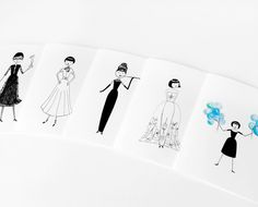 Audrey Hepburn stationery // 5 note cards. $10.00, via Etsy.