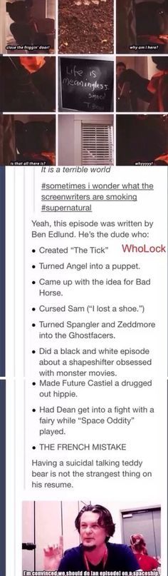 I found it! The connection between Whedon and SPN!! Hahaha!! Ben Edlund. He turned Angel into a puppet.....nice guy.