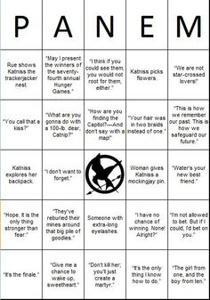 The Hunger Games Bingo! But I hate that it says women gives katniss mockingjay pin IT WAS MADGE STUPID