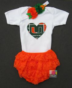 Miami Hurricanes Baby Bodysuit, Lace Ruffle Diaper Cover and Headband Set, Baby Girl Hurricanes, Baby Hurricane, Miami Baby on Etsy, $29.00