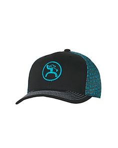 HOOey Golf Black with Turquoise Mesh and Logo Snap Back Cap