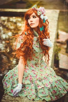 floral dress, butterflies, ginger hair, lace gloves, bows #lolita