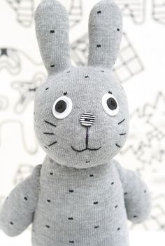 Grey bunny plush - cuddly toy for kids babies | toy game. Spielzeug Spiele . jouet jeux | design: toy appartement |