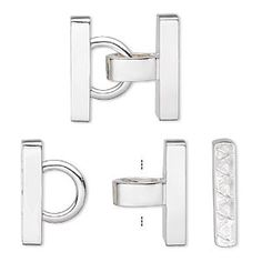 Clasp, 5-strand fold-over style, silver-plated brass, 26x25mm hinged smooth rounded rectangle. Sold individually.