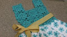 Discover thousands of images about Vestido Circular con Blusa Tejida a crochet para niña Crochet Dress Girl, Crochet Girls, Crochet Baby Clothes, Crochet For Kids, Vintage Pillow Cases, Vintage Pillows, Crochet Fabric, Knit Crochet, Crochet Chart