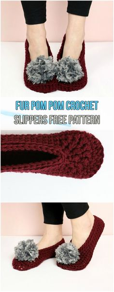 Fur Pom Pom Crochet Slippers Free Pattern #pompons #furry #slippers #crochet #yarns