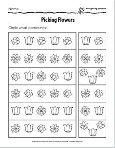 Advanced Pattern Worksheet-- AB, ABC, ABB, and AAB Patterns