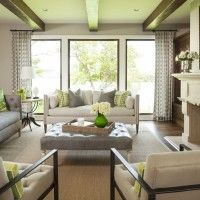 Large windows in living room, beams on the ceiling | Martha O'Hara Interiors