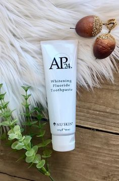 This AP 24 Whitening Flouride Toothpaste lightens and brightens teeth without the use of harsh bleach! It helps prevent cavities and plaque from forming, and had a great vanilla mint flavor. This toothpaste is great for the whole family, even kids! Ap 24 Toothpaste, Whitening Fluoride Toothpaste, Teeth Whitening, Nu Skin, What Causes Tooth Decay, Remedies For Tooth Ache, How To Prevent Cavities, Receding Gums, Dental Care