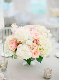 Wedding flower centerpiece blush pink. Too many hydrangeas for my taste, but still like some hydrangea
