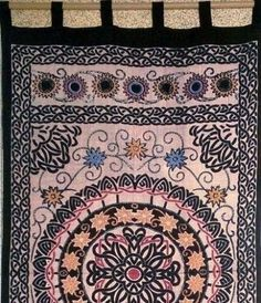 """""Handmade"""" Celtic Sunflower 100% Cotton Tab Top Curtain Drape Panel 44x88"