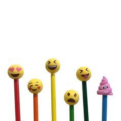 Emoji Yellow Pencil Eraser Toppers