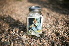 A Polaroid in a Lighted Bottle - Mason Jar Fairy with Butterfly, lighted (batteries included)