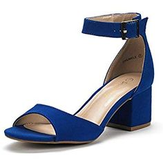 63b3480554d DREAM PAIRS Women s Chunkle Royal Blue Low Heel Pump Sandals Ankle Strap  Dress Shoes - 5 M US